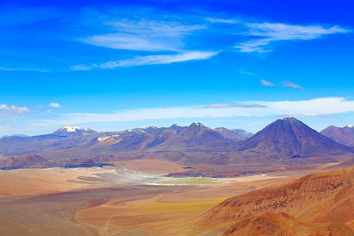 Beauty In Nature「上記のラスカー火山-劇的なアタカマ砂漠アルティプラーノ風景パノラマ、牧歌的なアタカマ砂漠、雪を頂いた火山ラグーナ Lejia 火山の風景パノラマ-サン ペドロ デ アタカマ、チリ、Bolívia、アルゼンチン国境」:スマホ壁紙(16)