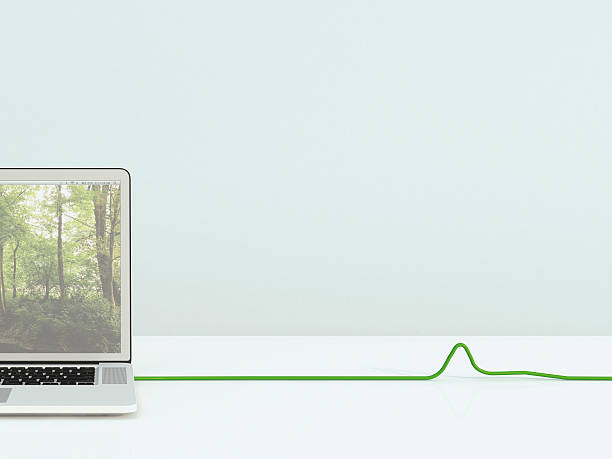 Opened laptop with green cable, 3D Rendering:スマホ壁紙(壁紙.com)