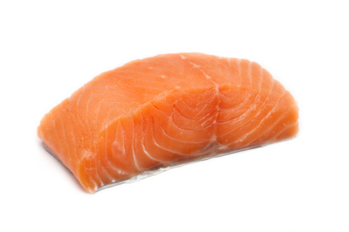 Raw Food「A large pink salmon fillet isolated on a white background」:スマホ壁紙(14)