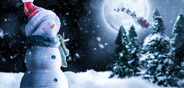 Moon「Christmas Night with Snowman, Santa and Moon」:スマホ壁紙(9)