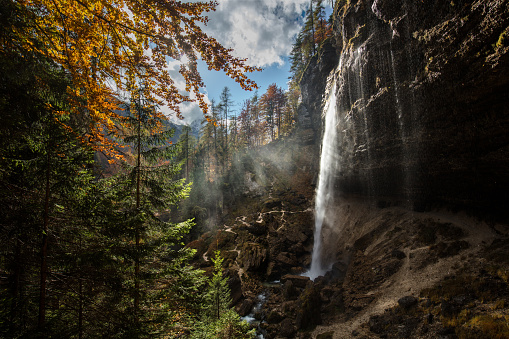 Dramatic Landscape「Waterfall in the mountain of Slovenia during autumn season.」:スマホ壁紙(14)