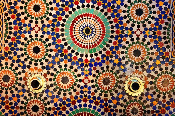 Colorful tiles on fountain, Mausoleum of Mohammed V , Rabat, Morocco.:スマホ壁紙(壁紙.com)
