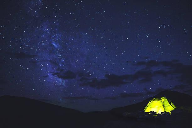 Tent under the starry sky:スマホ壁紙(壁紙.com)