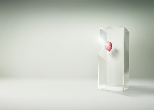 Balloon「Pink balloon floating in side of a tall glass box」:スマホ壁紙(10)