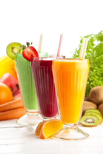 Vegetable Juice「Three fresh fruit smoothies surrounded by ingredients」:スマホ壁紙(11)