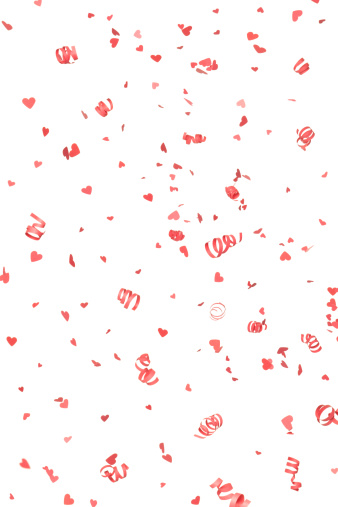 Streamer「Red Confetti Hearts and Streamers Falling, Isolated on White」:スマホ壁紙(18)