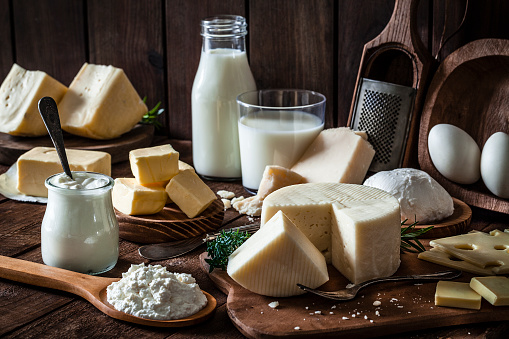 Cheese「Dairy products shot on rustic wooden table」:スマホ壁紙(12)