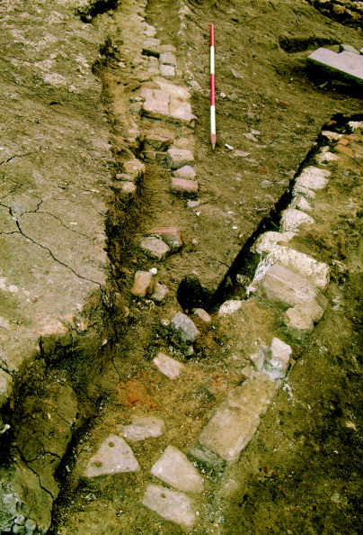薔薇「The line of the 1592–1606 Rose playhouse inner wall (left) where it diverts from the earlier (1587–92) inner wall (right); from the 1988–90 excavations at 2–10 Southwark Bridge Road; scale 1m」:写真・画像(11)[壁紙.com]
