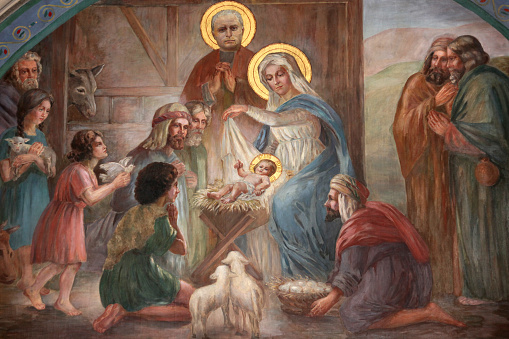 Religion「Nativity scene fresco in Saint Joseph des Nations church」:スマホ壁紙(19)