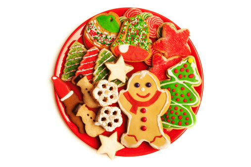 Gingerbread Cookie「Plate of Festive Decorated Christmas Cookies Isolated on White Background」:スマホ壁紙(9)