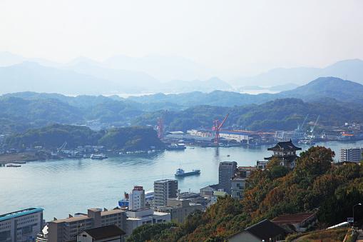 Japan「View of castle and shipyard, Onomichi, Hiroshima, Japan」:スマホ壁紙(18)