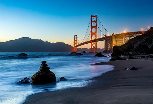 Coastline「Sunset at San Francisco Golden Gate Bridge」:スマホ壁紙(15)