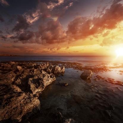 夕焼け 海「夕暮れ時の海」:スマホ壁紙(13)