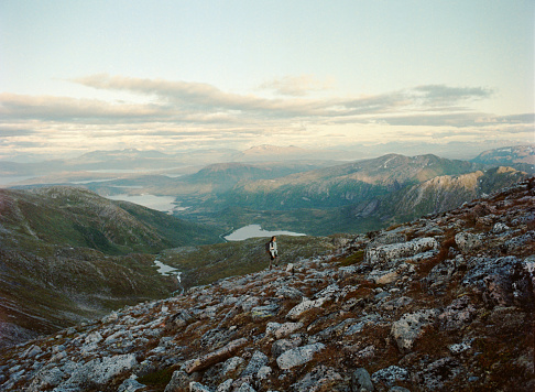 Caucasian Ethnicity「Woman hiking  in Senja Island from mountains」:スマホ壁紙(2)