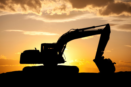 Construction Vehicle「Silhouette of Bulldozer at a Construction Site」:スマホ壁紙(7)