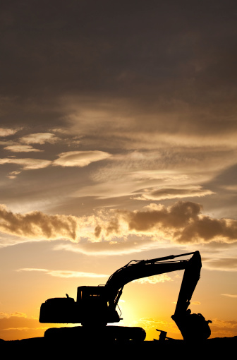 Earth Mover「Silhouette of Bulldozer at a Construction Site」:スマホ壁紙(12)