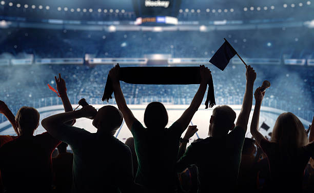 Silhouette of hockey fans at a stadium:スマホ壁紙(壁紙.com)