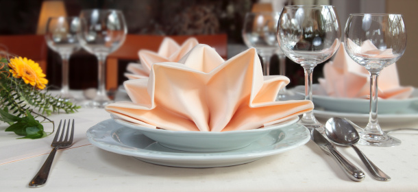 Napkin「Elegant place setting with apricot colored napkin decoration」:スマホ壁紙(19)