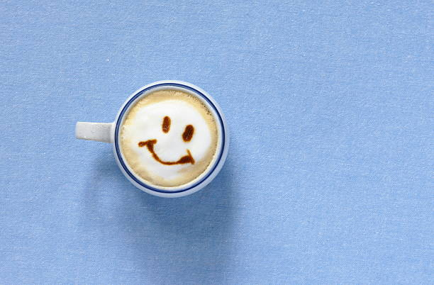 Latte with smiling face shaped foam,aerial view:スマホ壁紙(壁紙.com)