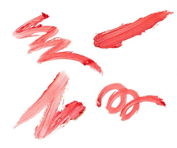 Set of four red lipstick smears on white background:スマホ壁紙(壁紙.com)