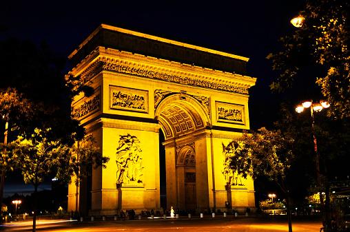 Arc de Triomphe - Paris「Paris, Arc de Triomphe by night」:スマホ壁紙(16)