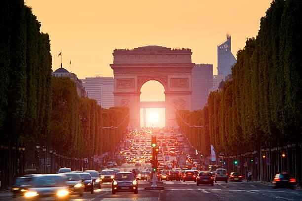 Paris, Arc de Triomphe at sunset:スマホ壁紙(壁紙.com)