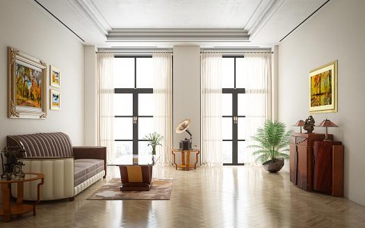 Parquet Floor「Art Deco Luxury Living Room」:スマホ壁紙(3)