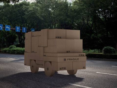 Online Shopping「Cargo truck made out of cardboard boxes」:スマホ壁紙(19)