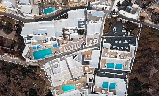 島「伝統的な棚田の頭上の空の景色フィラ (ティラ) の町の夕日、サントリーニ島、ギリシャ」:スマホ壁紙(16)