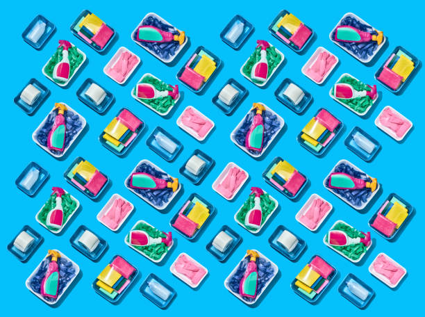 Pattern of cleaning products arranged in rows wrapped in cellophane shot over a blue background:スマホ壁紙(壁紙.com)