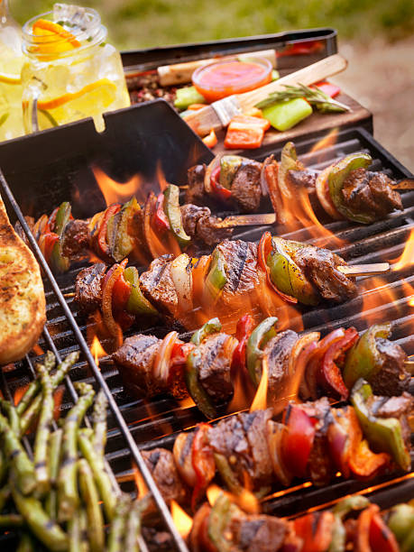 Beef and Vegetable Kabobs on the BBQ:スマホ壁紙(壁紙.com)