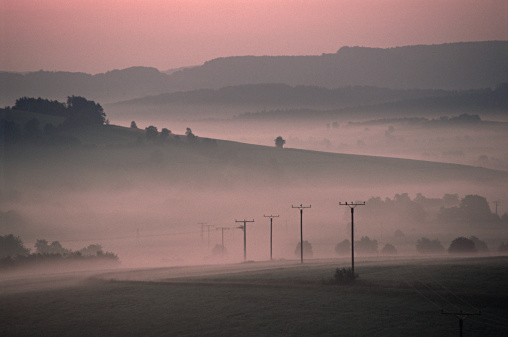 Electricity Pylon「Early morning in the countryside」:スマホ壁紙(9)