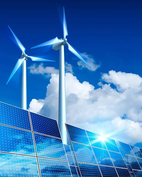 Renewable Energy - Solar Panels and Wind Turbine (XXL):スマホ壁紙(壁紙.com)
