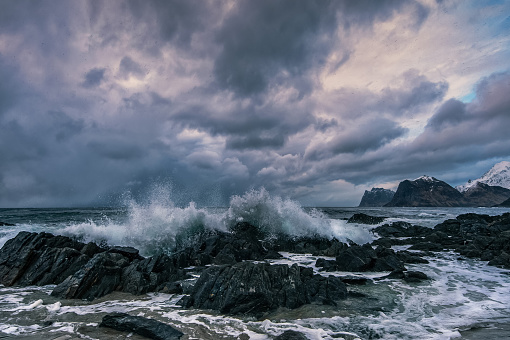 波「Storsanden beach, Flakstad, Lofoten, Norway」:スマホ壁紙(7)