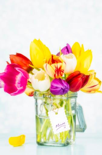 母の日「美しい鮮やかなチューリップの瓶入り」:スマホ壁紙(15)