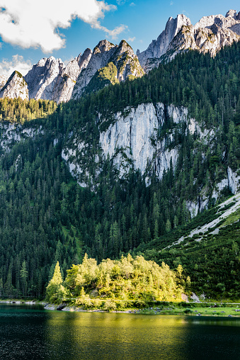 European Alps「Beautiful view of Gosausee in Upper Austria. The Dachstein Group in the backround」:スマホ壁紙(1)