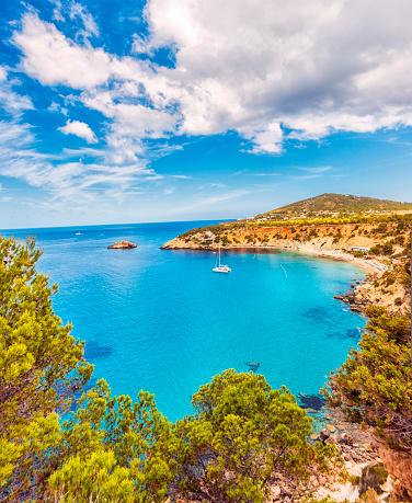 Balearic Islands「Beautiful view on Cala D'hort on Ibiza」:スマホ壁紙(3)