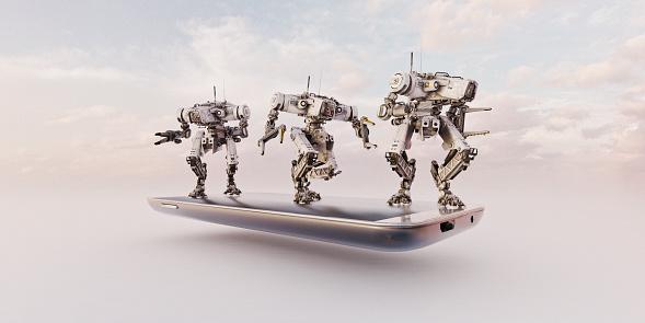 Internet of Things「Three industrial robots on smart phone」:スマホ壁紙(3)