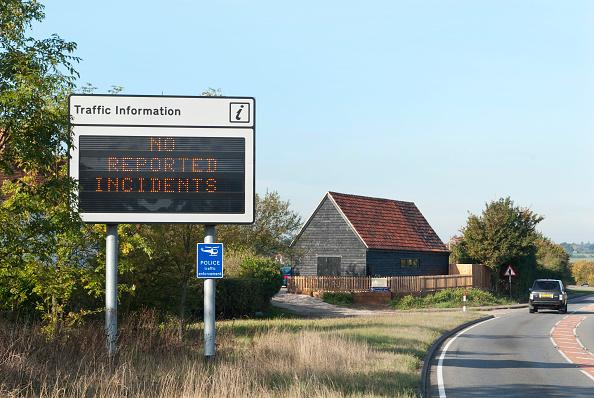 Copy Space「Traffic information sign on an 'A-road', Essex, UK」:写真・画像(11)[壁紙.com]