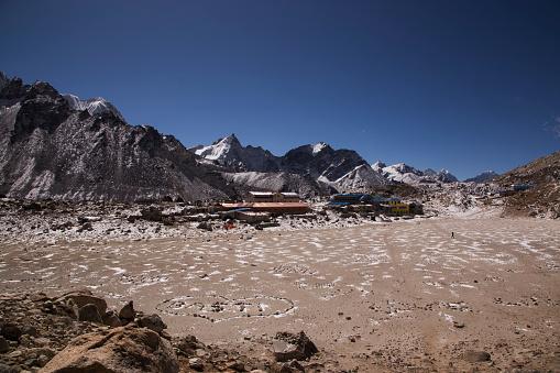 Khumbu Glacier「The Village of Gorak Shep from the base of Kala Patthar, Everest Base Camp Trek, Nepal」:スマホ壁紙(9)