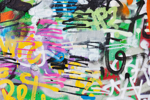 Color Image「Detail of graffiti painted illegally on public wall.」:スマホ壁紙(9)