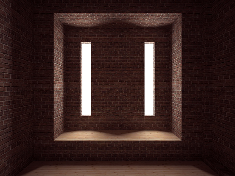 Brick Wall「Empty room, 3D render」:スマホ壁紙(8)