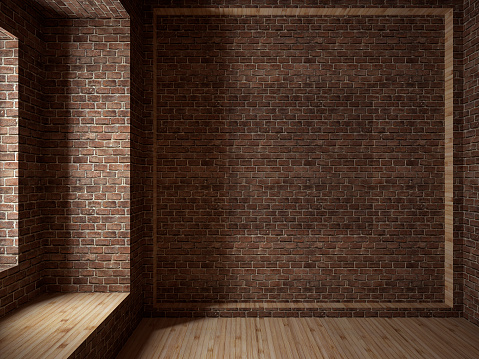 Brick Wall「Empty room, 3D render」:スマホ壁紙(1)