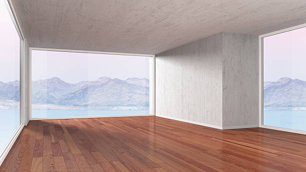 Empty room with parquet flooring, 3D rendering:スマホ壁紙(壁紙.com)