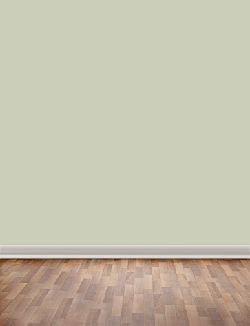 Wood Laminate Flooring「Empty room with wooden floor and green wall」:スマホ壁紙(16)