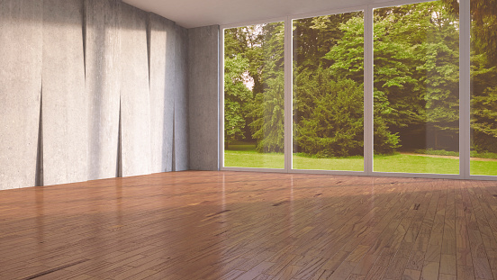 Window「Empty room with concrete wall and wooden flooring, 3D Rendering」:スマホ壁紙(11)
