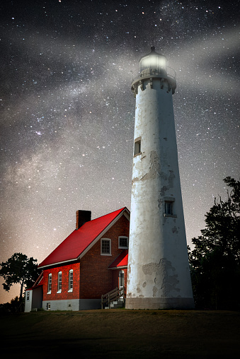 star sky「Tawas Lighthouse」:スマホ壁紙(9)