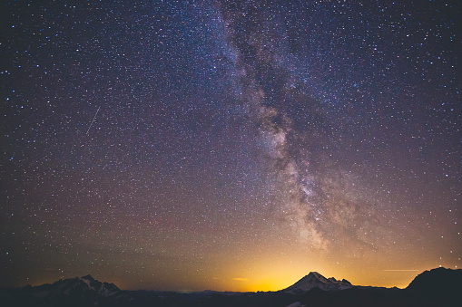 star sky「The Milky Way Galaxy Displayed Above Mount Baker As Seen From North Cascades National Park」:スマホ壁紙(14)