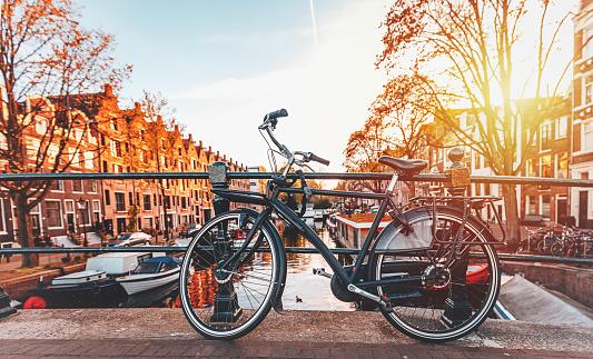Amsterdam「Bicycles parked on a bridge in Amsterdam」:スマホ壁紙(8)