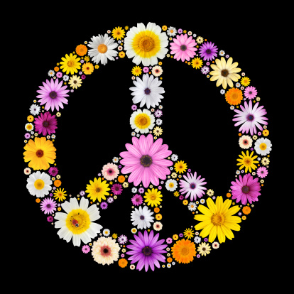 Floral Pattern「Peace symbol made from flowers」:スマホ壁紙(11)